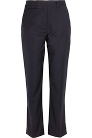 Midnight wool-twill straight-leg pants