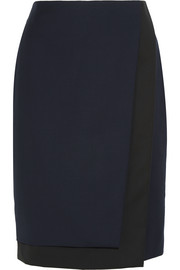 Layered wool-twill pencil skirt