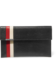 Daytona lizard-effect leather clutch