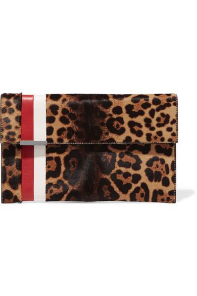 Tomasini - Daytona Leather-trimmed Leopard-print Calf Hair Clutch - Leopard print