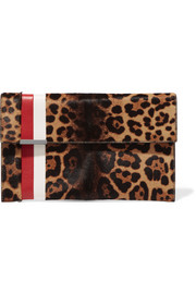 Daytona leather-trimmed leopard-print calf hair clutch