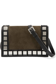 Tomasini Chelsea mirror-embellished suede and leather shoulder bag