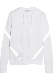 L'Etoile Sport Hooded perforated stretch-jersey jacket