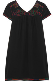 Embroidered silk crepe de chine mini dress