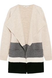 Meridian striped boiled wool cardigan
