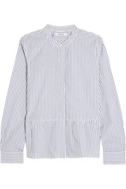 Striped cotton-poplin peplum shirt