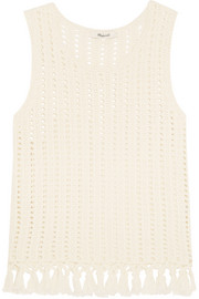 Fringed open-knit cotton-blend top