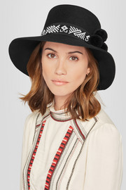 Moctezuma pompom-embellished beaded rabbit-felt fedora