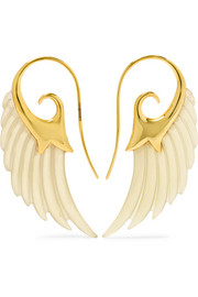 Noor Fares Wing 18-karat gold horn earrings