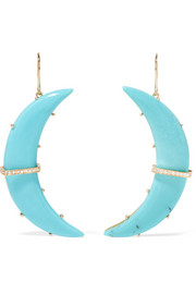 Crescent Moon 18-karat gold, turquoise and diamond earrings