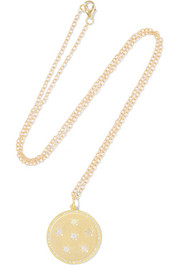 Full Moon Phase 14-karat gold, diamond and opal necklace