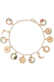 Phases of the Moon 14-karat gold multi-stone charm bracelet
