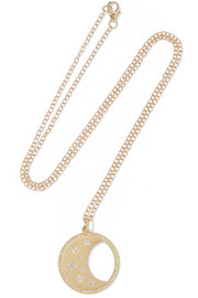 Waning/ Waxing Moon Phase 14-karat gold diamond necklace