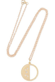 Half Moon Phase 14-karat gold diamond necklace