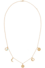 Andrea Fohrman 14-karat gold, diamond and turquoise necklace