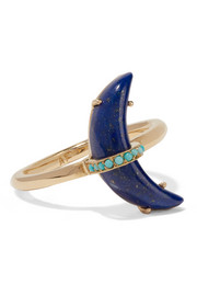 Andrea Fohrman Crescent Moon 18-karat gold, lapis lazuli and turquoise ring