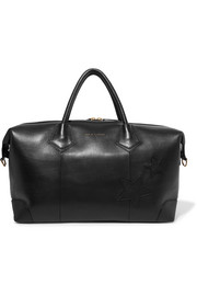 Voyager appliquéd textured-leather weekend bag
