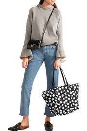 Goer leather-trimmed printed shell tote
