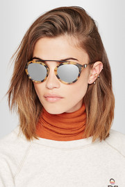 Flower 1 aviator-style matte-acetate and metal mirrored sunglasses
