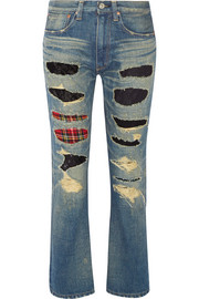 Patchwork low-rise slim boyfriend jeans