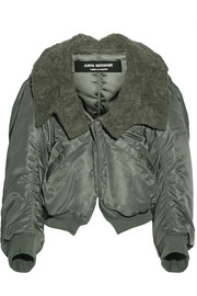 Faux fur-trimmed satin-twill jacket