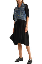 Junya Watanabe Layered denim and crepe dress