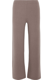 Cropped cashmere wide-leg pants