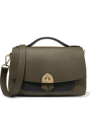 Basil two-tone textured-leather shoulder bag