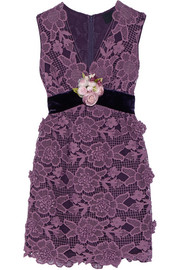Anna Sui Camilla velvet-trimmed crocheted lace mini dress