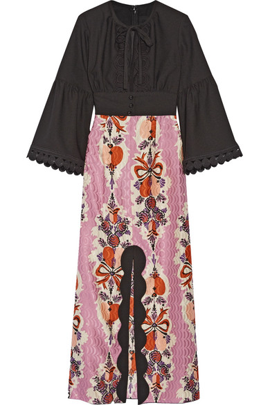 Anna Sui - Hearts Garland Twill And Silk And Cotton-blend Jacquard Maxi Dress - Black