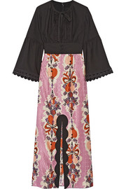 Anna Sui Hearts Garland twill and silk and cotton-blend jacquard maxi dress