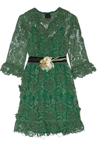 Anna Sui - Camilla Velvet-trimmed Crocheted Lace Mini Dress - Jade