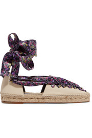 Satin-trimmed canvas espadrilles