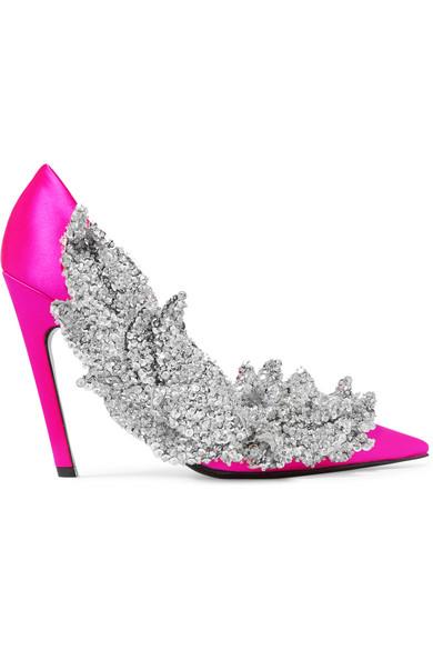 ac1dffb599f3 Balenciaga. Talon Slash sequin-embellished satin pumps