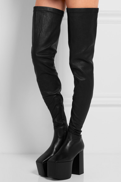 Balenciaga | Stretch-leather platform over-the-knee boots | NET-A
