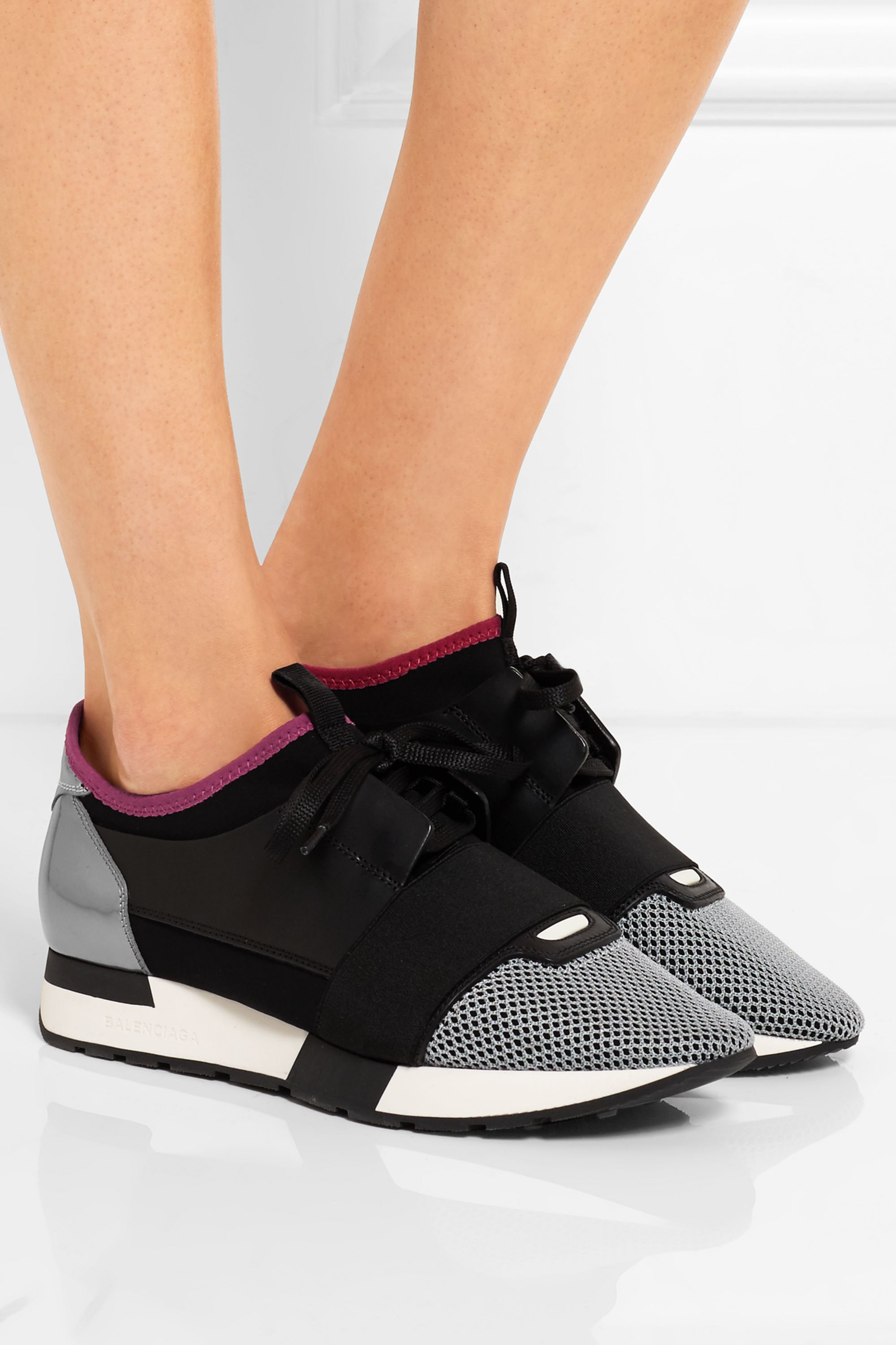 Black Race Runner leather, mesh and