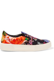 Floral-print satin slip-on sneakers