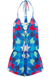 Bambi printed voile playsuit