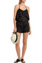 Sabrina polka-dot flocked cotton and silk-blend tulle playsuit
