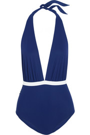 Lucia bow-embellished halterneck swimsuit