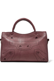 City Blackout small perforated leather tote