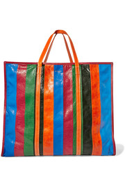 Bazar XL striped textured-leather tote