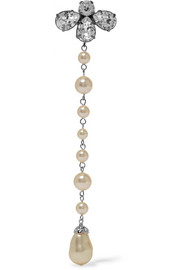 Silver-tone, crystal and faux pearl clip earring