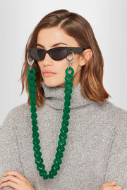 Faux suede and silver-tone sunglasses chain
