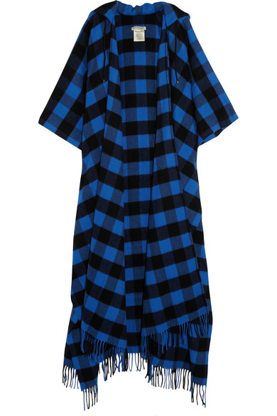 Balenciaga - Checked Wool And Cashmere-blend Hooded Wrap - Blue