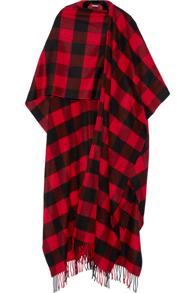 Balenciaga - Plaid Wool And Cashmere-blend Wrap - Red