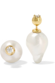 14-karat gold, pearl and diamond earrings