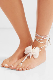 Seta palladium-tone, pearl and silk anklet