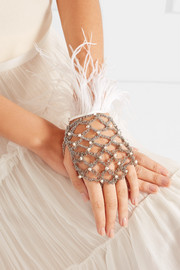 Giovanna palladium-tone,  pearl and feather glove