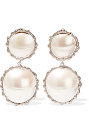 Rosantica Carducci palladium-tone mother-of-pearl clip earrings